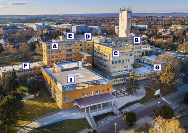 A kórház épületrészei